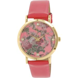 Geneva Platinum Women's 9819.CORAL.CORAL.GOLD Red Leather Quartz Watch