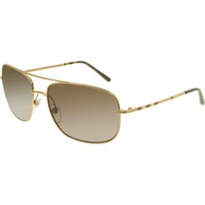 Burberry Men's  BE3077-118973-60 Gold Rectangle Sunglasses