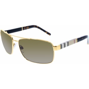 Burberry Men's  BE3081-101773-63 Gold Rectangle Sunglasses