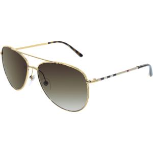 Burberry Women's Gradient  BE3072-118913-57 Gold Aviator Sunglasses