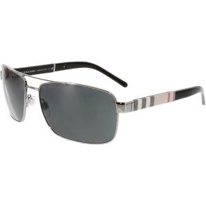 Burberry Men's  BE3081-100387-63 Black Rectangle Sunglasses