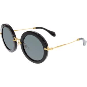 Miu Miu Women's  MU13NS-1AB1A1-49 Black Round Sunglasses