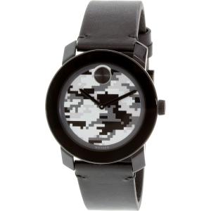 Movado Men's Bold 3600300 Black Leather Swiss Quartz Watch