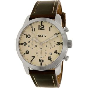 Fossil Men's FS5146 Silver Leather Quartz Watch