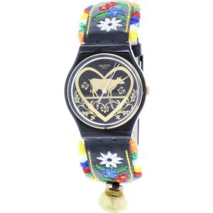 Swatch Women's Originals GB285 Black Leather Swiss Quartz Watch