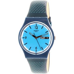 Swatch Women's Originals GN719 Blue Leather Swiss Quartz Watch