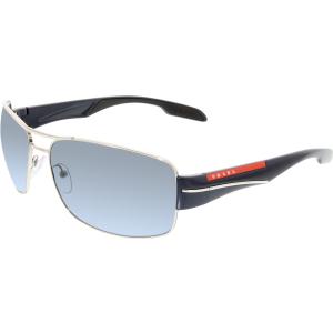 Prada Men's  PS53NS-1BC5I1-65 Silver Rectangle Sunglasses
