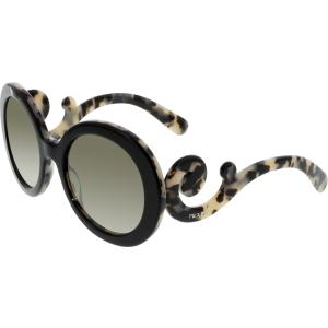 Prada Women's  PR27NS-ROK4M1-55 Black Round Sunglasses