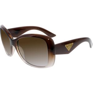 Prada Women's Polarized  PR32PS-PDM6E1-57 Brown Butterfly Sunglasses