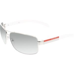Prada Men's Gradient  PS54IS-1BC3M1-65 Silver Rectangle Sunglasses