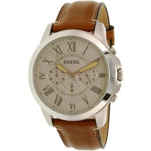Fossil Men's Grant FS5118 Silver Leather Quartz Watch