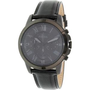 Fossil Men's Grant FS5132 Black Leather Quartz Watch