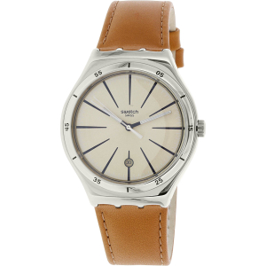 Swatch Men's Irony YWS408C Brown Leather Swiss Quartz Watch