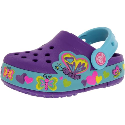 48e672695 ... UPC 887350146219 product image for Crocs Girl s Kids Crocslights  Butterfly Neon Purple Aqua Ankle-
