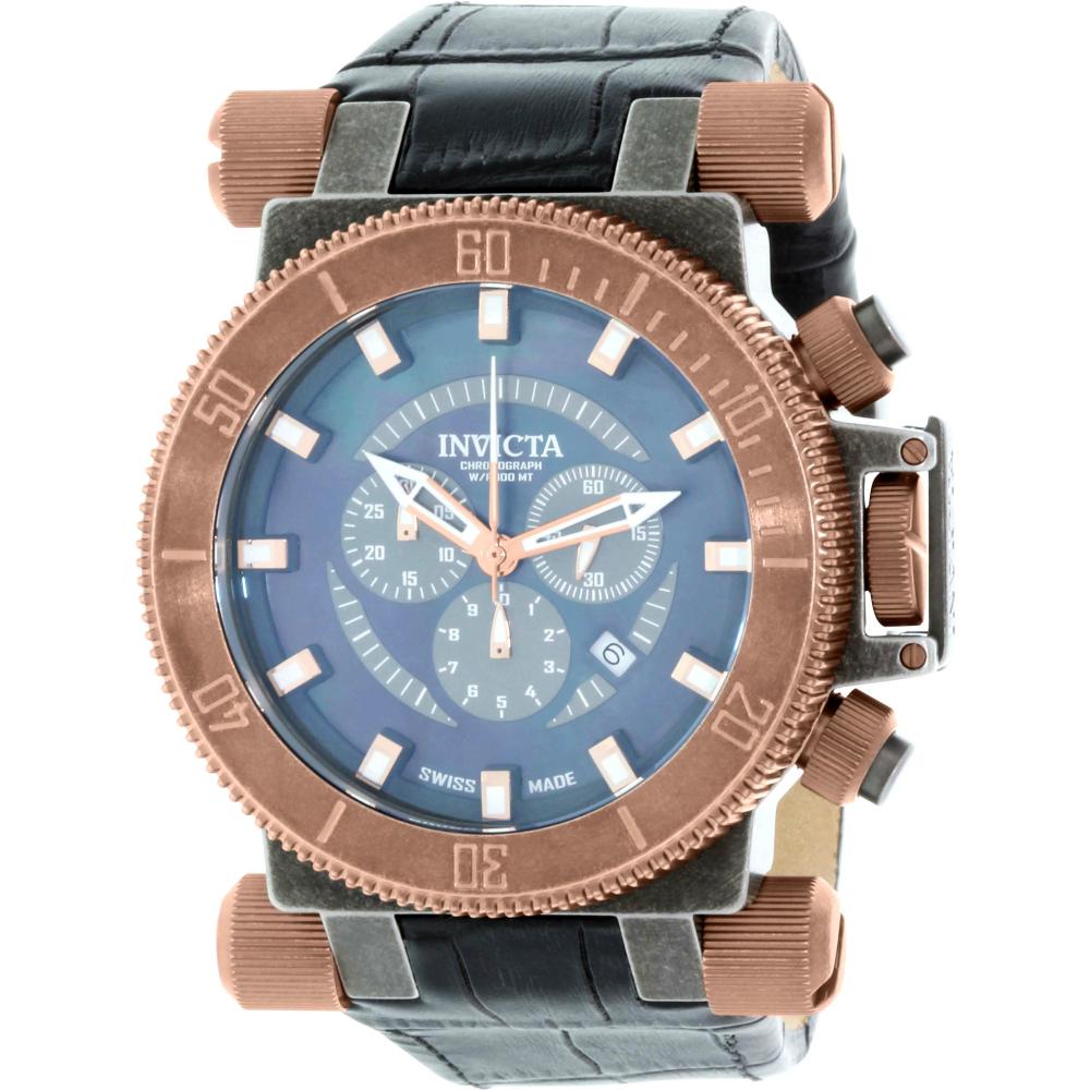 Invicta Men's Coalition 18463 Black Leather Swiss Chronograph Watch