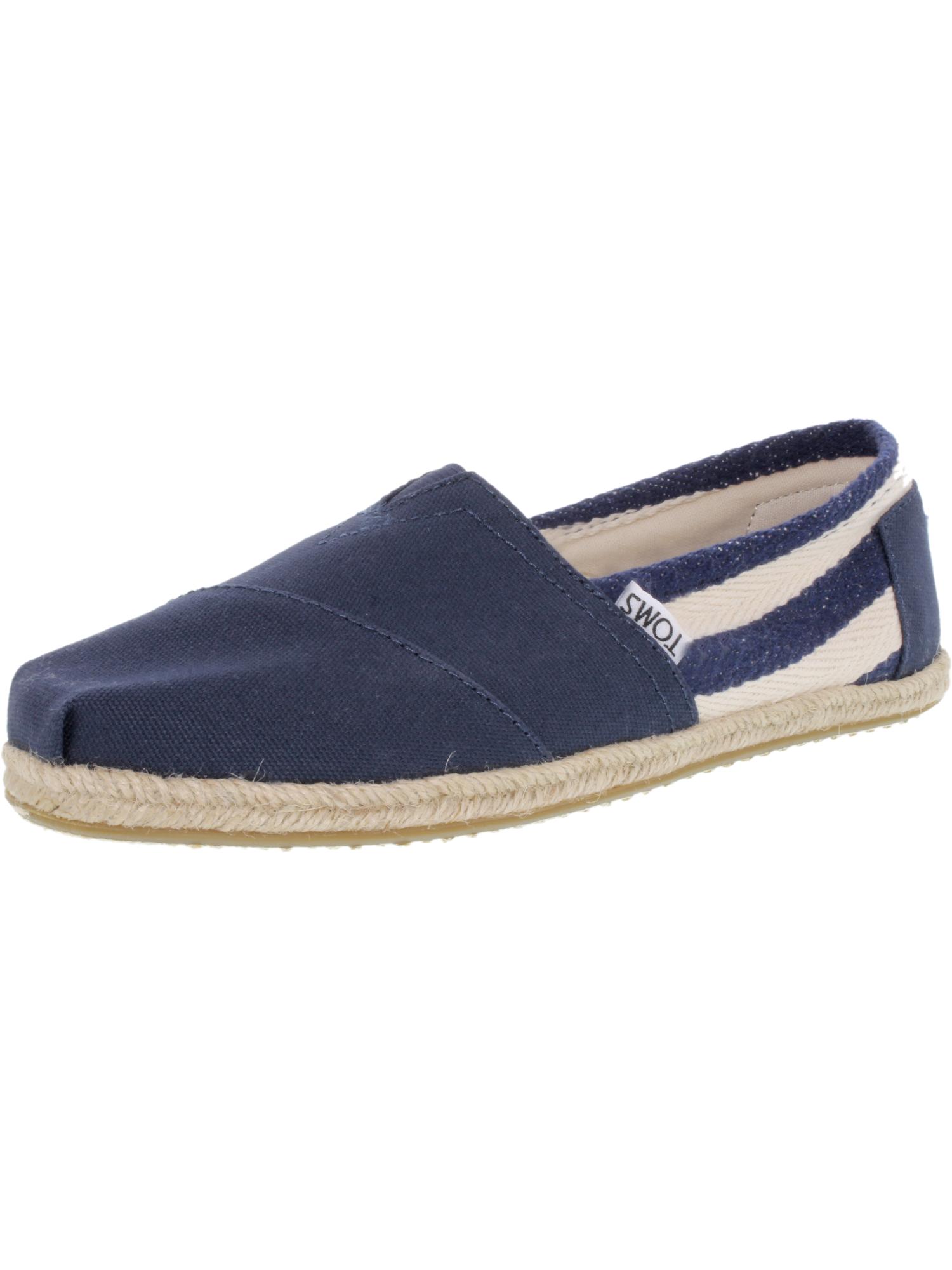 Womens Toms Grey University Classic Stripe Flat Shoes