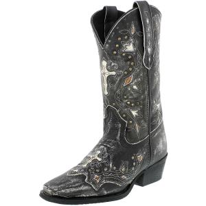 Laredo Women's Silver Cross Leather Mid-Calf Leather Boot
