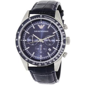 Emporio Armani Men's Tazio AR6089 Blue Leather Quartz Watch