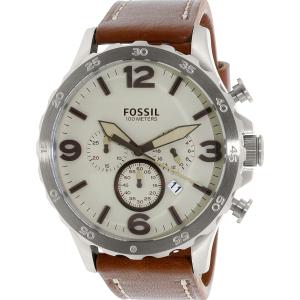 Fossil Men's Nate JR1503 Brown Leather Quartz Watch