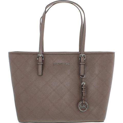 Michael Kors Women's Jet Set Travel Top Zip Leather Top-Handle Bag Tote
