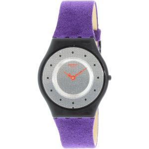 Swatch Women's Skin SFB144 Purple Leather Quartz Watch