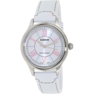 Casio Women's LTPE113L-7A White Leather Quartz Watch