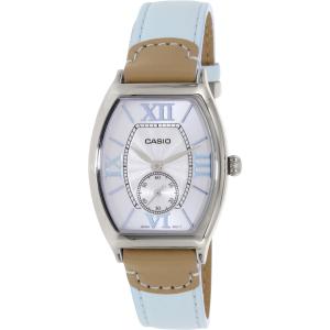 Casio Women's LTPE114L-2A Light Blue Leather Quartz Watch