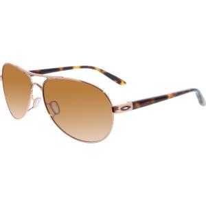 Oakley Women's Gradient Feedback OO4079-01 Rose Gold Aviator Sunglasses