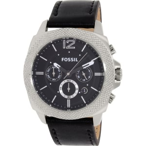 Fossil Men's Privateer BQ1731 Black Leather Quartz Watch
