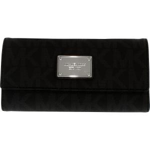Michael Kors Women's Jet Set Signature Checkbook Leather Wallet Baguette