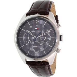 Tommy Hilfiger Men's 1791184 Silver Leather Quartz Watch