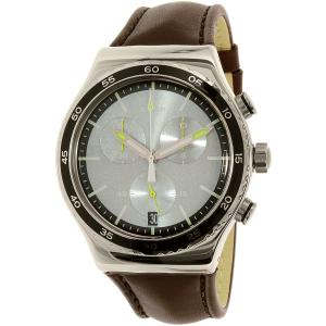 Swatch Men's Irony YVS429 Brown Leather Swiss Quartz Watch