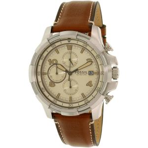 Fossil Men's Dean FS5130 Silver Leather Quartz Watch