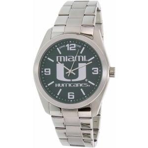 Gametime Men's Elite Miami Hurricanes COL-ELI-MIA Silver Stainless-Steel Quartz Watch