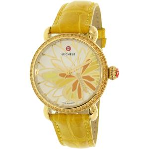 Michele Women's Garden Party MWW05D000015 Yellow Alligator Leather Swiss Quartz Watch