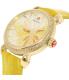 Michele Women's Garden Party MWW05D000015 Yellow Alligator Leather Swiss Quartz Watch - Side Image Swatch