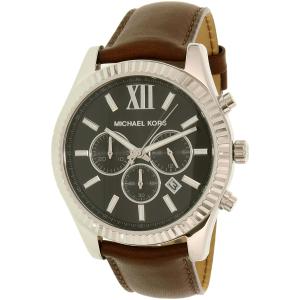 Michael Kors Men's Lexington MK8456 Silver Leather Quartz Watch