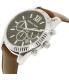 Michael Kors Men's Lexington MK8456 Silver Leather Quartz Watch - Side Image Swatch