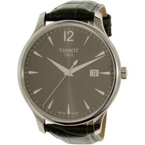 Tissot Men's Tradition T063.610.16.087.00 Grey Leather Swiss Quartz Watch