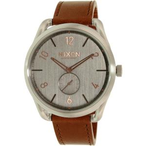 Nixon Men's A4652064 Silver Leather Swiss Quartz Watch