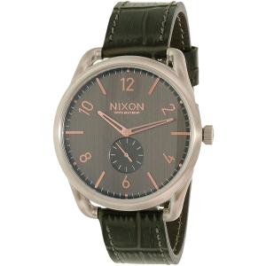 Nixon Men's A4652145 Grey Leather Swiss Quartz Watch