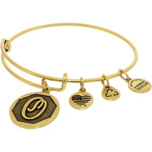 Alex And Ani Women's Power Of Positivity Initial O Rafaelian Gold Charm Bracelet