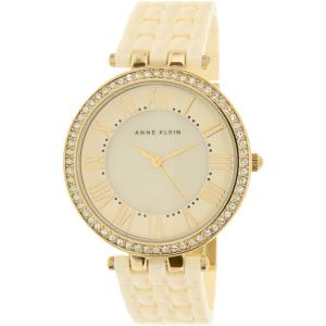 Anne Klein Women's AK-2130IVGB Beige Ceramic Analog Quartz Watch