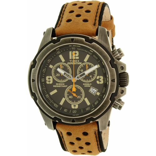 Timex Men's Expedition TW4B01500 Gunmetal Leather Analog Qua