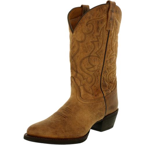 Laredo Women's Maddie Leather Tan Distressed Mid-Calf Lace B