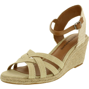 Lucky Women's Kalley Metallic Linen Ankle-High Fabric Sandal