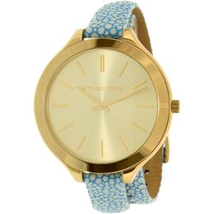 Michael Kors Women's Slim Runway MK2478 Gold Leather Quartz Watch