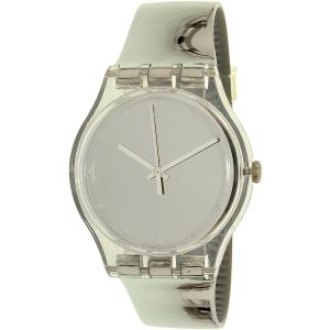 Swatch Women's New Gent SUOK121 Silver Leather Swiss Quartz Watch