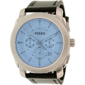 Fossil Men's Machine FS5160 Black Leather Quartz Watch