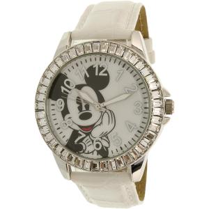 Disney Women's Mickey Mouse MCKAQ1306S White Leather Analog Quartz Watch